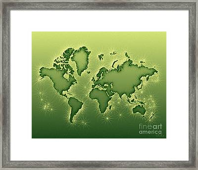 World Map Opala In Green And Yellow Framed Print