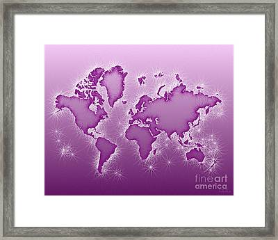 World Map Opala In Purple And White Framed Print