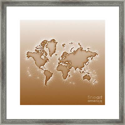 World Map Opala Square In Brown And White Framed Print
