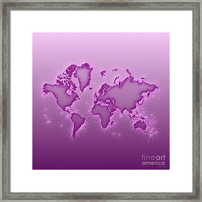 World Map Opala Square In Purple And Pink Framed Print