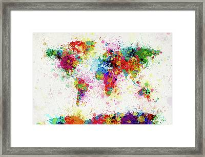 World Map Paint Drop Framed Print by Michael Tompsett