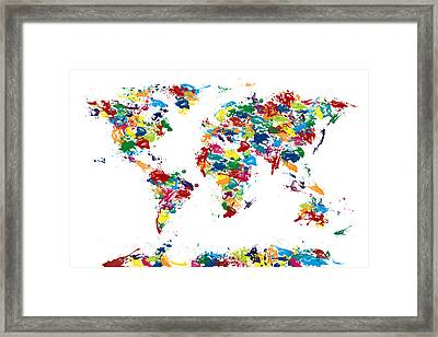 World Map Paint Drops Framed Print by Michael Tompsett