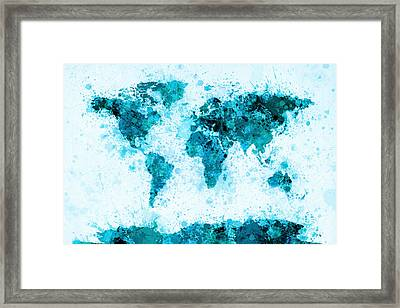 World Map Paint Splashes Blue Framed Print by Michael Tompsett