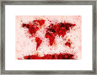 World Map Paint Splashes Red Framed Print by Michael Tompsett