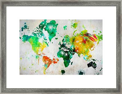 World Map Paint Splatter Framed Print by Dan Sproul