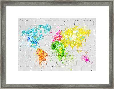 World Map Painting On Brick Wall Framed Print