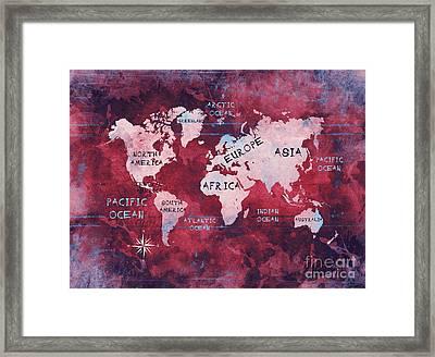 World Map Red Framed Print by Justyna JBJart