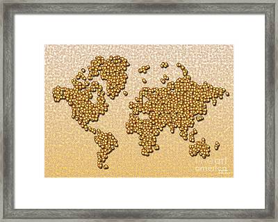 World Map Rolamento In Yellow And Brown Framed Print