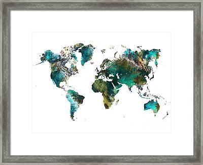 World Map Tree Art Framed Print