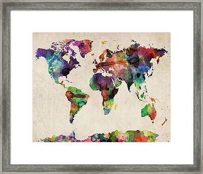 World Map Watercolor 16 X 20 Framed Print by Michael Tompsett
