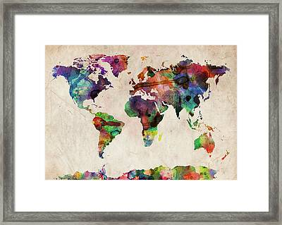World Map Watercolor Framed Print