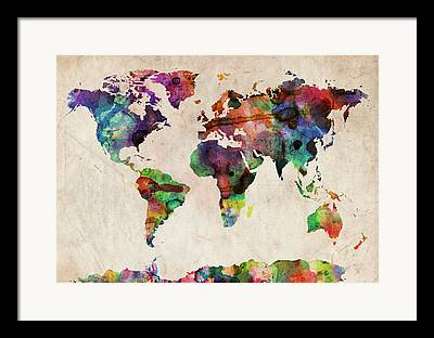 Country Map Framed Prints