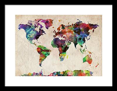 World map framed art prints fine art america world map framed prints gumiabroncs