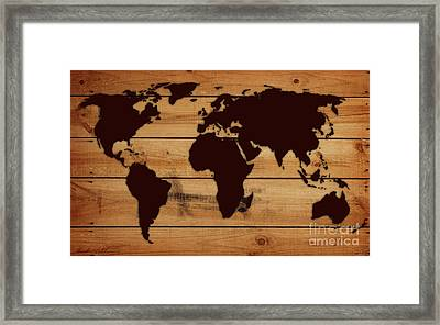 World Map Wood  Framed Print