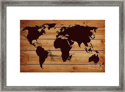 World Map Wood  Framed Print