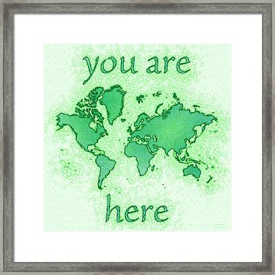 World Map You Are Here Airy In Green And White Framed Print by Eleven Corners