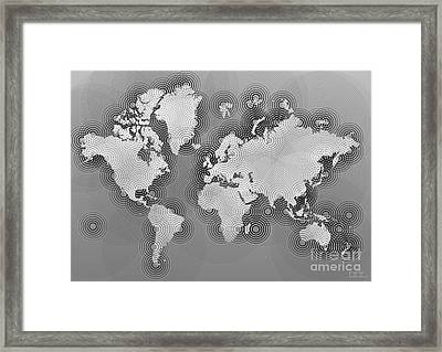 World Map Zona In Black And White Framed Print by Eleven Corners