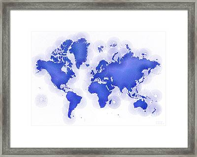 World Map Zona In Blue And White Framed Print