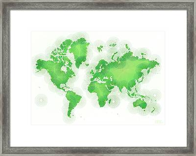 World Map Zona In Green And White Framed Print by Eleven Corners