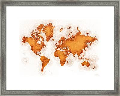 World Map Zona In Orange And White Framed Print
