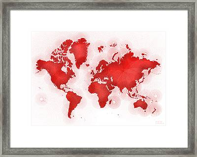 World Map Zona In Red And White Framed Print by Eleven Corners