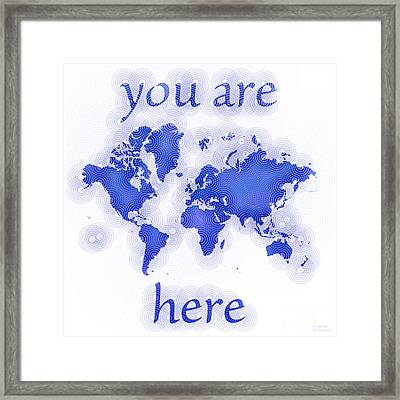 World Map Zona You Are Here In Blue And White Framed Print