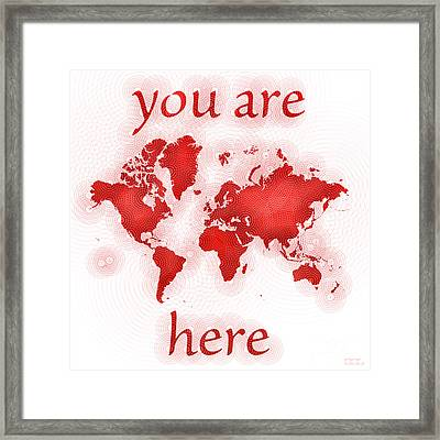 World Map Zona You Are Here In Red And White Framed Print