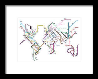 Subway Map Framed Prints