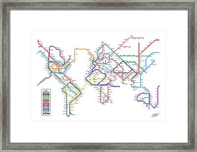 World Metro Tube Subway Map Framed Print