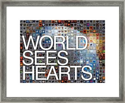 World Sees Hearts Framed Print by Boy Sees Hearts