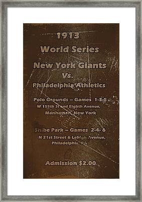 World Series 1913 Framed Print by David Dehner