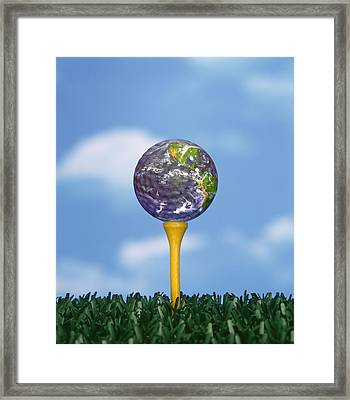 World Teed Up Framed Print by Gerard Fritz