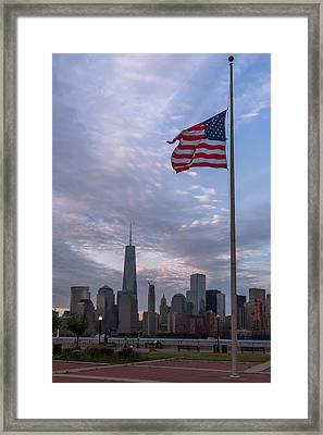 World Trade Center Freedom Tower New York City American Flag Framed Print