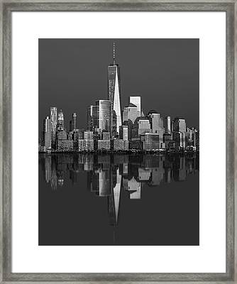 World Trade Center Reflections Bw Framed Print by Susan Candelario