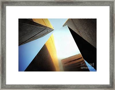 World Trade Center Towers And The Ideogram 1971-2001 Framed Print by Nishanth Gopinathan