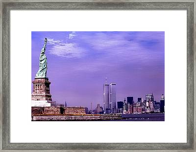 World Trade Center Twin Towers And The Statue Of Liberty  Framed Print