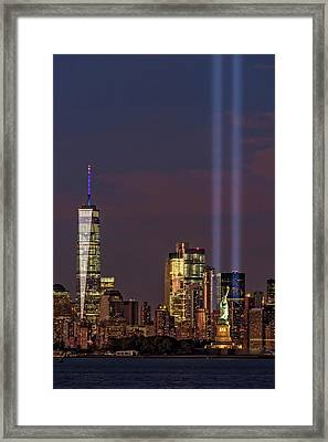 World Trade Center Wtc Tribute In Light Memorial II Framed Print by Susan Candelario