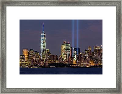 World Trade Center Wtc Tribute In Light Memorial Framed Print by Susan Candelario