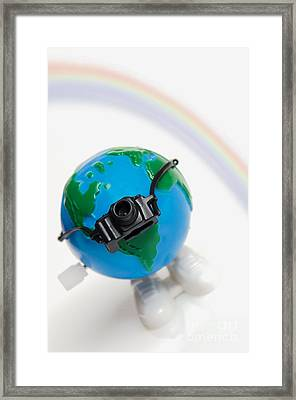 World Traveler With Camera And Rainbow Framed Print by Linda Matlow