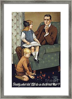 World War 1 Propaganda Poster Daddy What Did You Do In The Great War? Framed Print