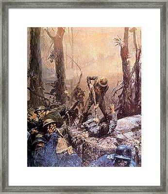 World War I, American Marines In The Framed Print by Everett