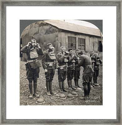 World War I: Gas Masks Framed Print by Granger