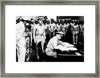World War II, Admiral Nimitz Signing Framed Print by Everett