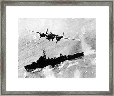 World War II, An American B-25 Bomber Framed Print by Everett
