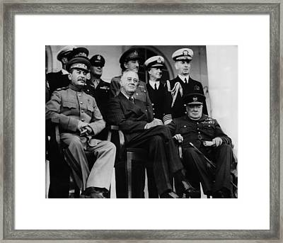 World War II. From Left, Front Row Framed Print by Everett