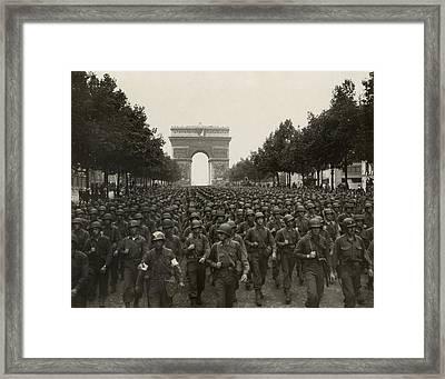 World War II. The Liberation Of Paris Framed Print