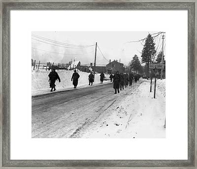 World War II. Us Army Infantrymen March Framed Print by Everett