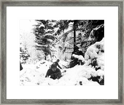 World War II. Us Army Infantrymen Take Framed Print by Everett