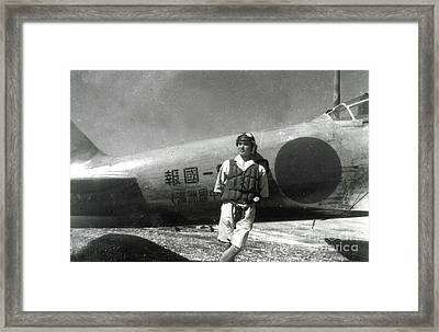 World War II,japanese Pilot Poses By Zero Fighter In The South Pacific Framed Print by Japanese School