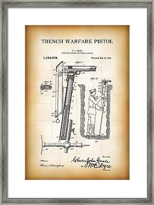 World War One Trench Warfare Pistol 1916 Framed Print by Daniel Hagerman